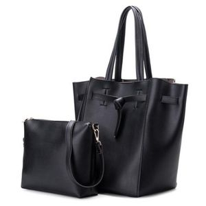 NWT CRUSH ON YOU VEGAN 2-IN-1 TOTE BAG -BLACK